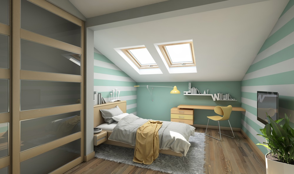 Compact attic bedroom