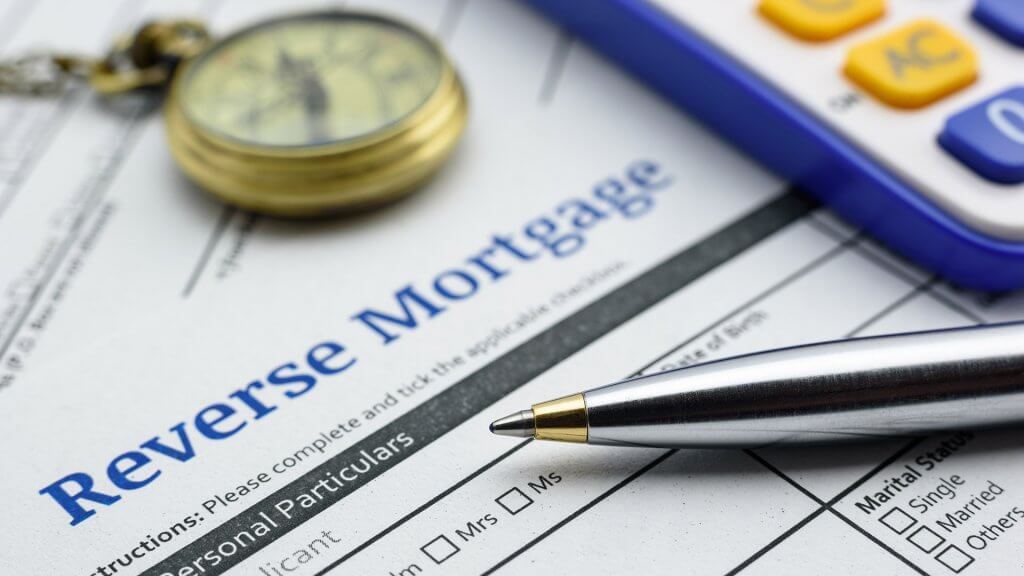 Piece of paper saying reverse mortgage
