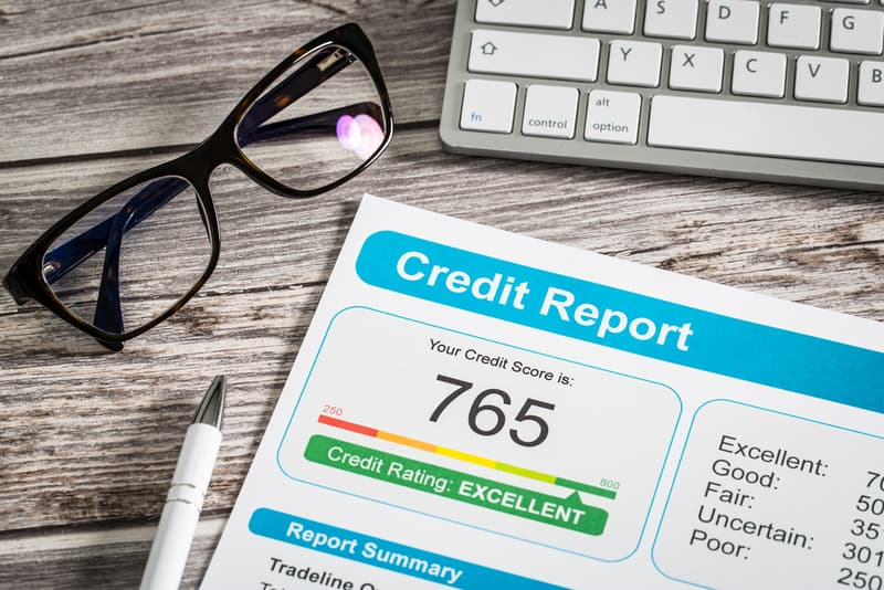 Credit report lying on table