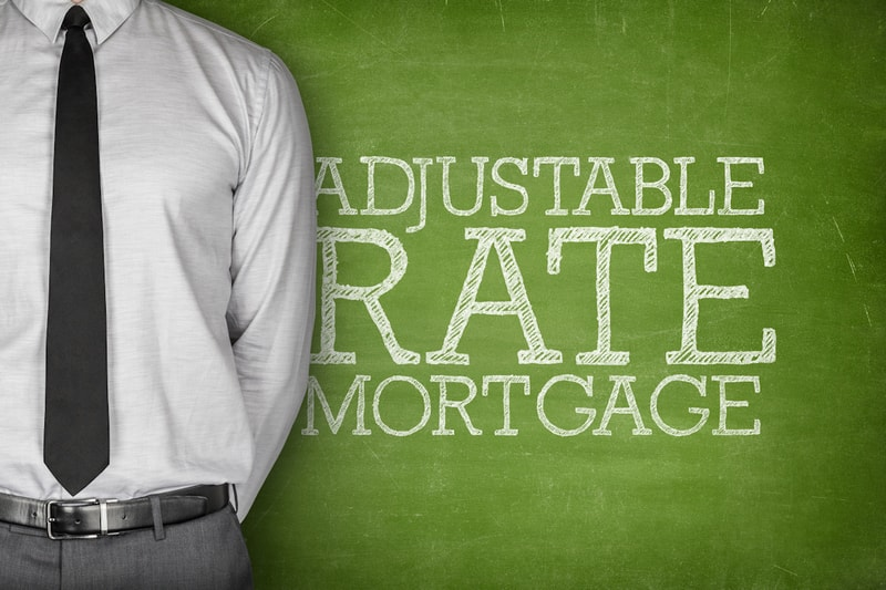the words adjustable rate mortgage on green background