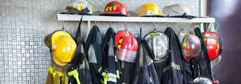firefighter equipment hanging