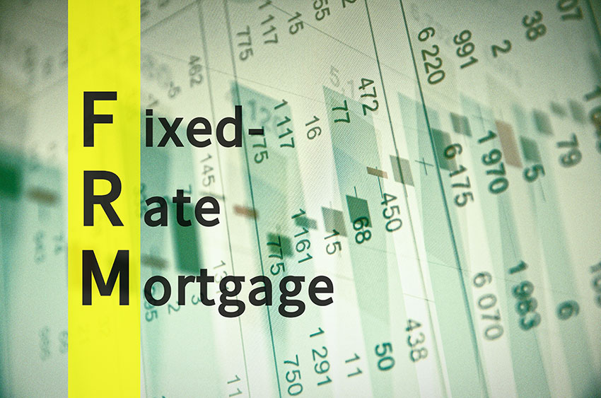 The words fixed-rate-mortgage on background with numbers