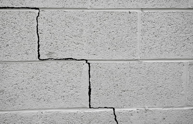 crack in brick indicating foundation issues