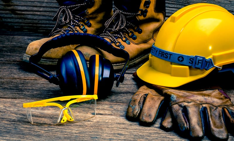 safety gear lying on the ground