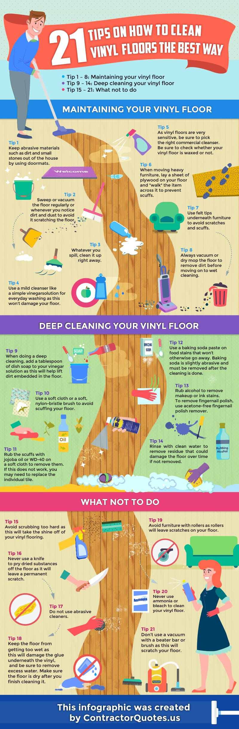 infographic explaining the different steps of cleaning vinyl plank floors