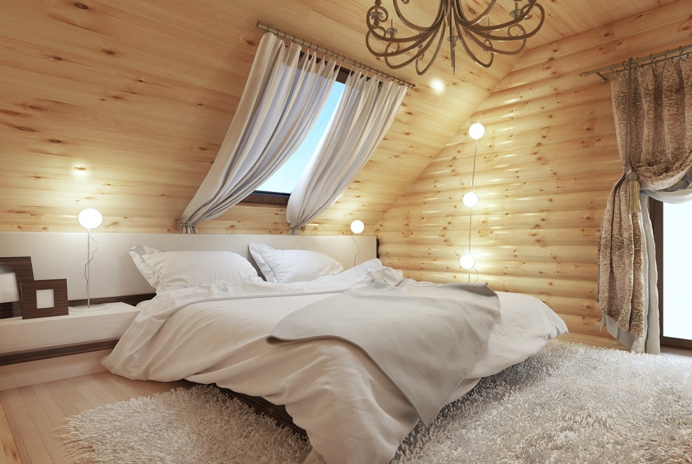 Rustic, wooden attic bedroom