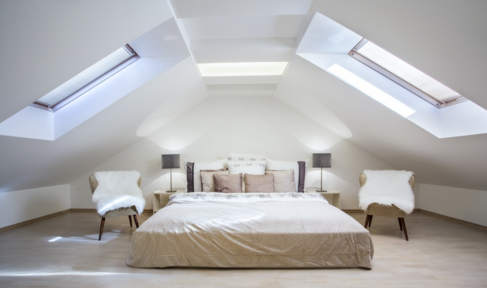 Well-lit attic bedroom