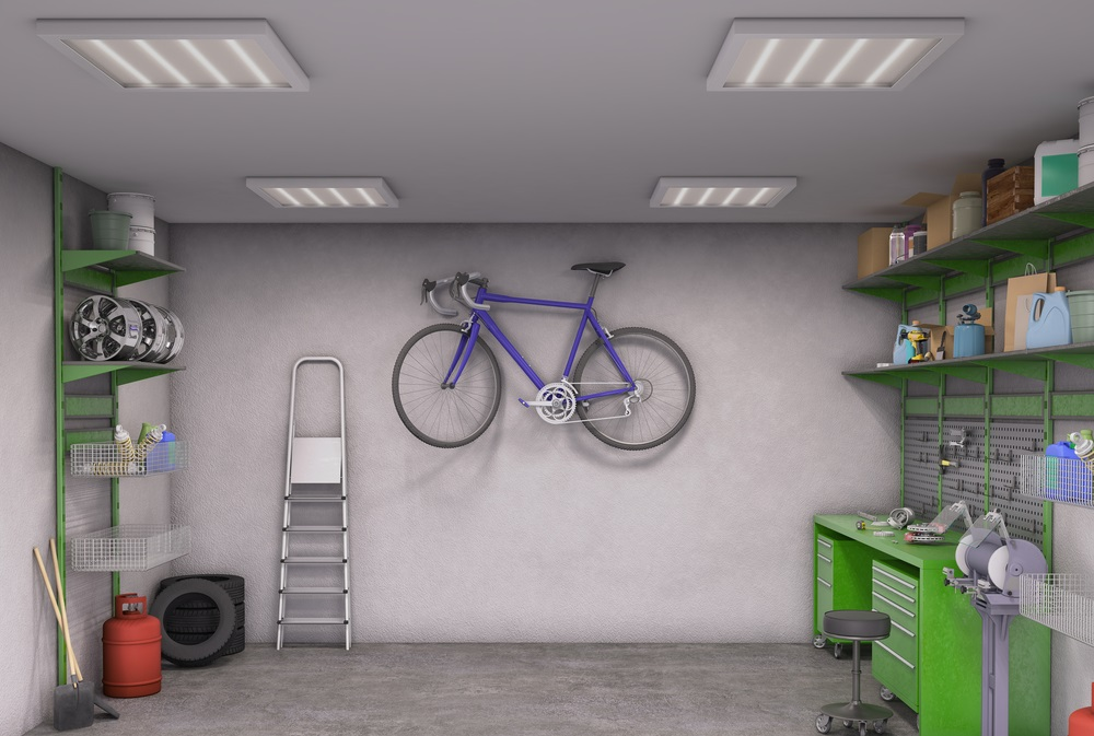 Bike hanging on garage wall