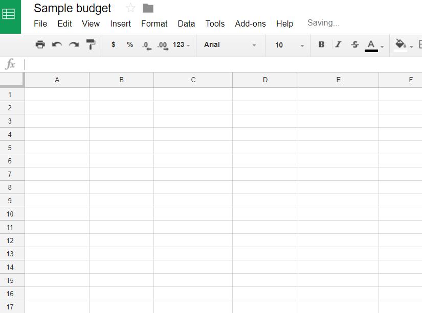 blank google sheets