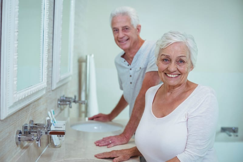 Older couple in the bathroom