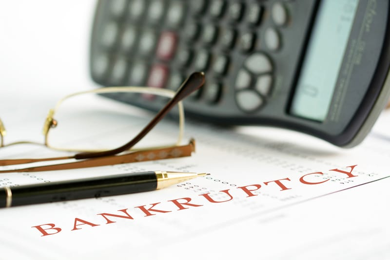 Bankruptcy written on a piece of paper