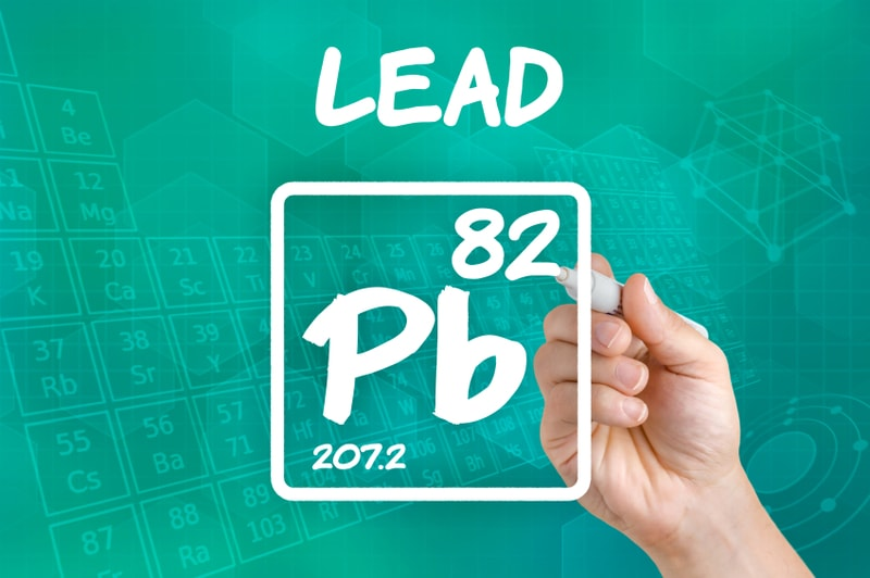 Graphic illustration of lead in the periodic table