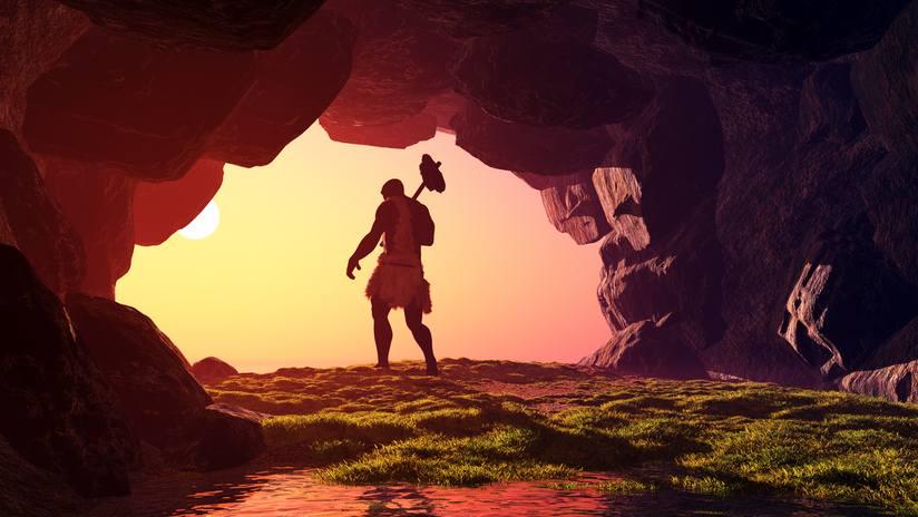 primitive cave man illustration