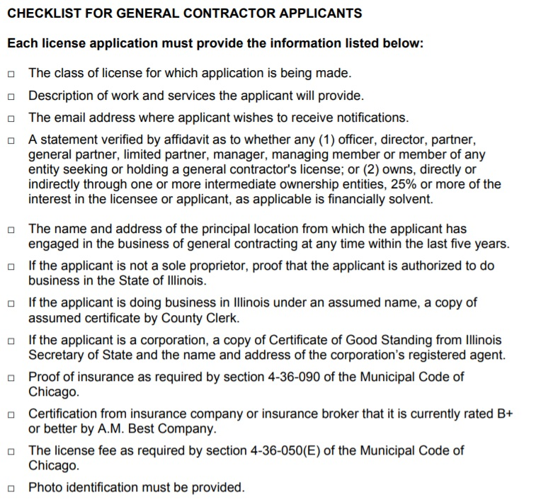 CHECKLIST FOR GENERAL CONTRACTOR APPLICANTS