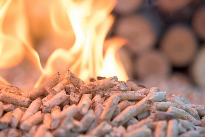 pellets that are burning