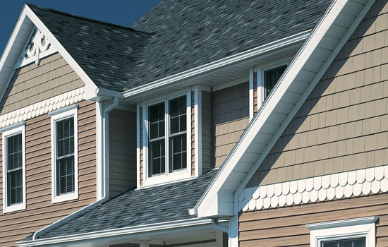 combination of different styles of vinyl siding