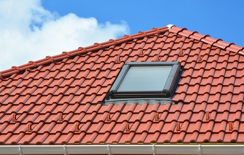 clay roof with a skylight instaslled in it