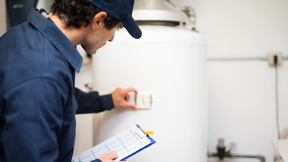 inspection of a water heater