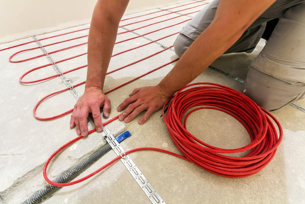 floor heating being installed